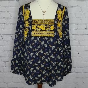 ENTRO NAVY MUSTARD EMBROIDERED TOP